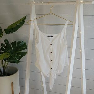 Shein white ribbed tank with buttons